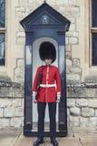 La sentinelle de la Chambre de bijou au bâtiment de bloc de Waterloo à l'intérieur de la tour de Londres, Angleterre photographie stock libre de droits