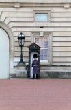 La sentinelle du grenadier garde dans l'uniforme de l'hiver Photographie stock libre de droits
