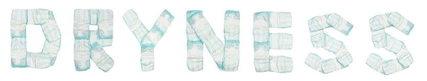La sequedad de la palabra presentó los pañales del bebé en un fondo blanco, aislante, servilleta, inscripción fotos de archivo