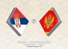 La Serbia contro il Montenegro, lega C, gruppo 4 Competi di calcio di Europa illustrazione vettoriale