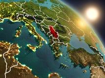 La Serbia da spazio durante l'alba Fotografia Stock Libera da Diritti