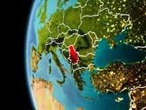 La Serbia da spazio nella sera Fotografie Stock