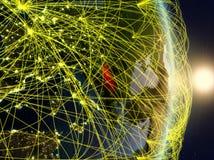 La Serbia su pianeta Terra di reti immagini stock libere da diritti