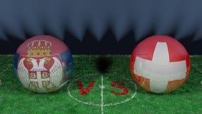 La Serbie contre la Suisse Coupe du monde 2018 de la FIFA Image 3D originale Photo stock