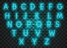 La serie di caratteri al neon del turchese ha messo su fondo porpora, illustrazione di vettore Immagini Stock Libere da Diritti