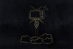 La serie televisiva lanza, vuelo de la televisión como un cohete Fotografía de archivo libre de regalías