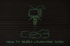 La serie televisiva lanza, vuelo de la televisión como un cohete Imagenes de archivo