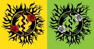 La serpiente médica del símbolo con sostener las llamas del fuego del símbolo de las manos y las rosas texturizan el ejemplo Fotos de archivo
