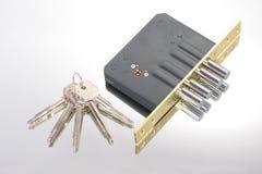 La serratura con i tasti Fotografia Stock