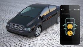 La serratura di porta dell'automobile e sblocca dallo Smart Phone Fotografie Stock Libere da Diritti
