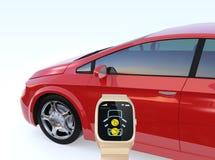 La serratura di porta dell'automobile e sblocca tramite l'orologio astuto Fotografia Stock