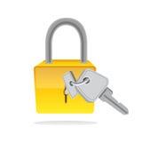 La serratura ed il tasto vector l'icona Immagine Stock Libera da Diritti
