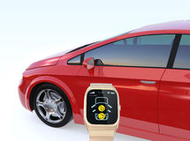 La serrure de portière de voiture et ouvrent par la montre intelligente Photographie stock