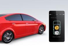 La serrure de portière de voiture et ouvrent par le téléphone intelligent Images stock