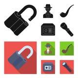 La serrure a entaillé, coffre-fort, tuyau de tabagisme, détective privé Icônes réglées de collection de détective dans le symbole Images stock