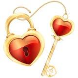 La serrure et la clé au coeur rouge forment dans le cadre d'or et l'illustration d'ornement Images libres de droits