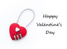 La serrure et la salutation de combinaison en forme de coeur textotent pour la Saint-Valentin Photos libres de droits