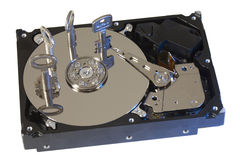 La serrure sûre fixe le disque dur en vert Photos stock