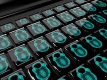 La serrure virtuelle au clavier numérique, le concept 3d de protection des données rendent Photos stock