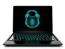 La serrure virtuelle au clavier numérique, le concept 3d de protection des données rendent Image libre de droits