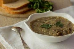 La seta y las patatas baten la sopa en el cuenco blanco Foto de archivo