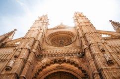 La Seu,帕尔马,西班牙哥特式中世纪大教堂  库存照片