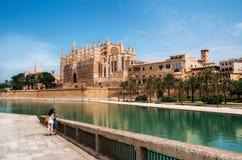 La Seu, a catedral medieval gótico de Palma de Mallorca, Espanha Foto de Stock Royalty Free