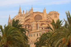 La Seu Cathedral in Palma de Mallorca. The view from the sea of the beautiful cathedral in Palma, Mallorca Stock Images