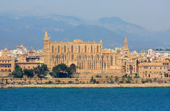 La Seu Cathedral in Palma de Mallorca. The view from the sea of the beautiful cathedral in Palma, Mallorca Royalty Free Stock Photography