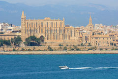 La Seu Cathedral in Palma de Mallorca. The view from the sea of the beautiful cathedral in Palma, Mallorca Royalty Free Stock Photos