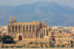 La Seu Cathedral in Palma de Mallorca. The view from the sea of the beautiful cathedral in Palma, Mallorca Stock Photography