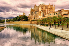 La Seu, the cathedral of Palma de Mallorca, Spain, in sunset lig Stock Photography