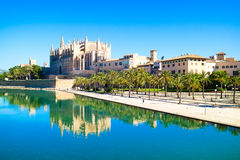 La Seu - the famous medieval gothic catholic cathedral. Palma de. Mallorca, Spain. Water reflection Royalty Free Stock Photo