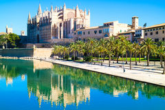 La Seu - the famous medieval gothic catholic cathedral. Palma de. Mallorca, Spain. Water reflection Royalty Free Stock Images