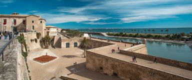 Palma de Mallorca Majorca, Balearic Islands, Spain. La Seu, gothic cathedral built on a previous mosque, Parc de la Mar Park of the Sea, Palma de Mallorca Royalty Free Stock Image
