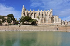 La Seu, the gothic cathedral of Palma de Mallorca,. La Seu, the gothic medieval cathedral of Palma de Mallorca, Spain Stock Photo