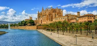 La Seu, the gothic medieval cathedral of Palma de Mallorca, Spai. Panoramic view of La Seu, the gothic medieval cathedral of Palma de Mallorca, Spain Royalty Free Stock Photography