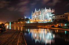 La Seu, the gothic medieval cathedral of Palma de Mallorca, Spain. La Seu, the gothic medieval cathedral of Palma de Mallorca at the night with illumination. The Stock Photo