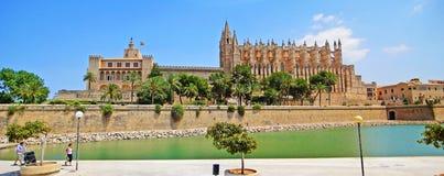 La Seu and Palacio Real de La Almudaina, Palma de Majorca. Palma de Majorca, Spain - June 25, 2008: Cathedral  La Seu with Royal Palace Palacio Ral de La Royalty Free Stock Image