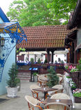 La sezione della Boemia Skadarlija dell'architettura storica del ristorante è Fotografia Stock
