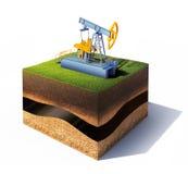 La sezione trasversale di terra con la pompa di olio e dell'erba solleva isolato su bianco Immagini Stock Libere da Diritti
