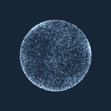 La sfera che consiste dei punti Collegamenti digitali globali Griglia astratta del globo Illustrazione della sfera di Wireframe G Immagini Stock Libere da Diritti