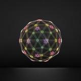 La sfera che consiste dei punti Collegamenti digitali globali Griglia astratta del globo Illustrazione della sfera di Wireframe G Immagini Stock