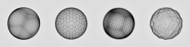 La sfera che consiste dei punti Griglia astratta del globo Illustrazione della sfera progettazione di griglia 3D stile di tecnolo illustrazione di stock
