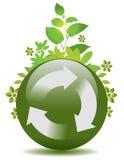 La sfera con ricicla le frecce Fotografia Stock