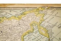 La Siberia su una mappa d'annata Fotografia Stock