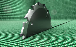 La sierra de acero del círculo está destruyendo datos ilustración del vector