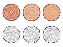 La sierra natural del fondo de los anillos de árbol cortó el ejemplo decorativo del vector del sistema de elementos del diseño de Fotos de archivo
