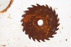 La sierra sircular oxidada Fotos de archivo