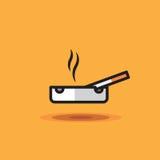 La sigaretta di fumo dell'icona di vettore si trova sul portacenere su fondo arancio Sigaretta dell'illustrazione sul portacenere illustrazione vettoriale
